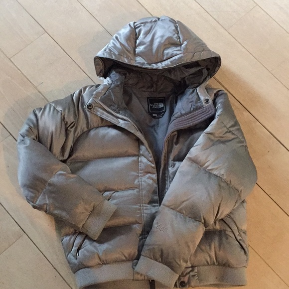 6a073144b North Face Shiny Silver Puffer